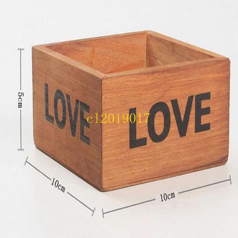 50pcs/lot Rustic Natural Wooden LOVE Letter Succulent Plant Flower Bed Pot Box Home Garden Planter Free Shipping