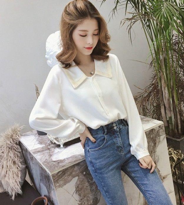 Весна новой свободного дизайна чувство небольшого шифон рубашка блузка иностранный стиль свободный тип шифон ВС блок