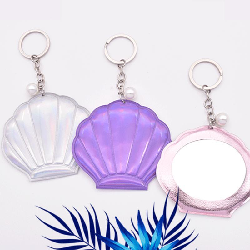 Nuova la migliore vendita disegno bling mini forma a conchiglia specchio specchio portachiavi specchietto laterale singola