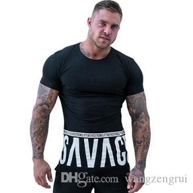 Erkekler Koşu Spor Harfler t gömlek Gym Fitness Egzersiz Eğitimi Kısa kollu T-Shirt Erkek Koşu Tee Üstleri Tasarımcı Giyim