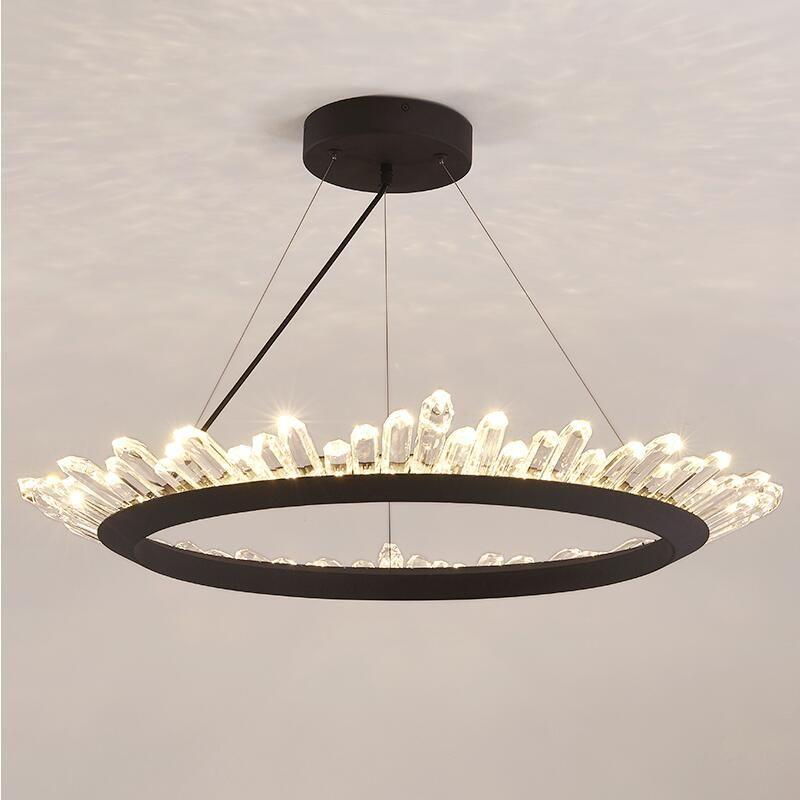 Nordic crystal chandelier Gold/Black post modern transparent crystal lamp designer ring living room dining room lighting fixture