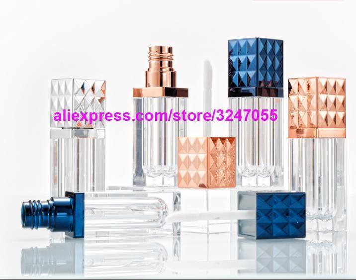 Place Rose Or vide Lip Gloss cosmétiques Tube, Beauté professionnelle Argent Rouge à lèvres Bouteille Rechargeables, Bleu Lip Oil Container