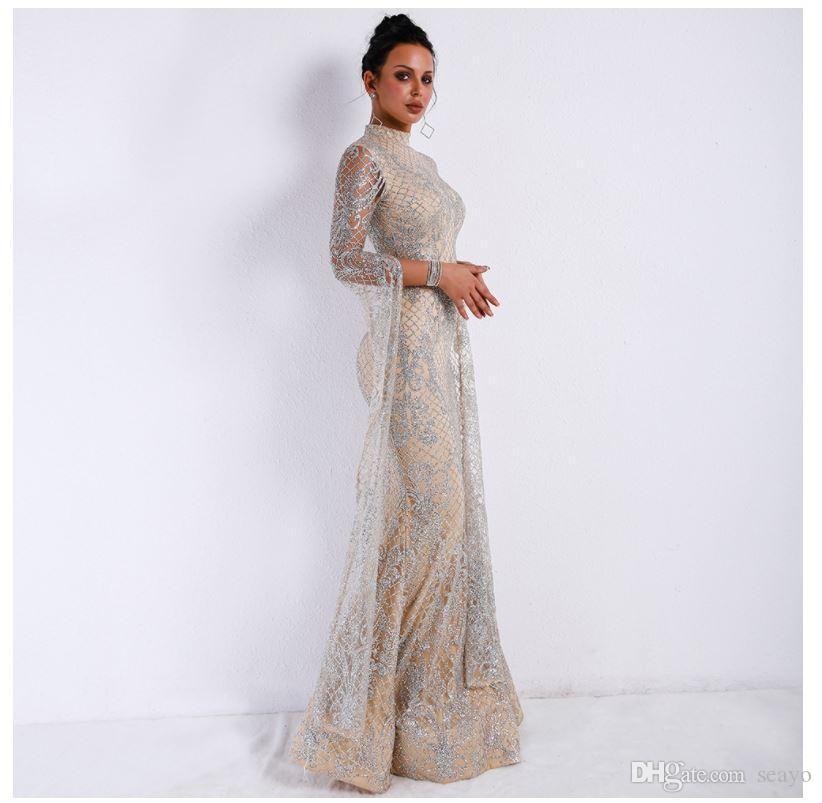 Avrupa ve Amerikan Elbise Kadınlar, 2019 Uzun Kollu Örgü Pullu Abiye Uzun Etek, Dış Ticaret Fabrikasında Doğrudan Satış, Spot Satış