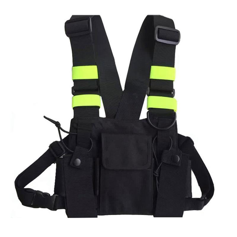 Caza al aire libre del chaleco bolsa de pecho Radio pecho bolsa Paquete titular estuche de transporte reflectantes para Kenwood Para Baofeng accesorios