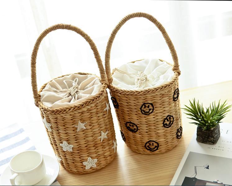 Beach Bag Beading Embroidery Small Bucket Straw Bags Star Smile Women Causal Weave Girls Drawstring Handbags Shopper Totes