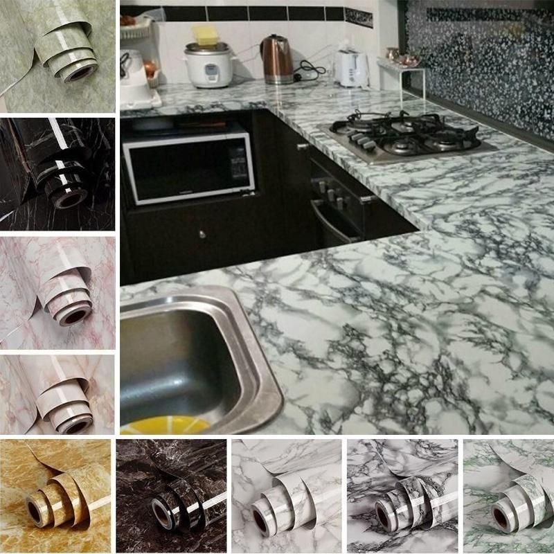 5M Self Adhesive Wallpaper Peel-Stick Abnehmbare Steineffekt-Wand-Aufkleber für KücheCountertop Badezimmer Wohnzimmer