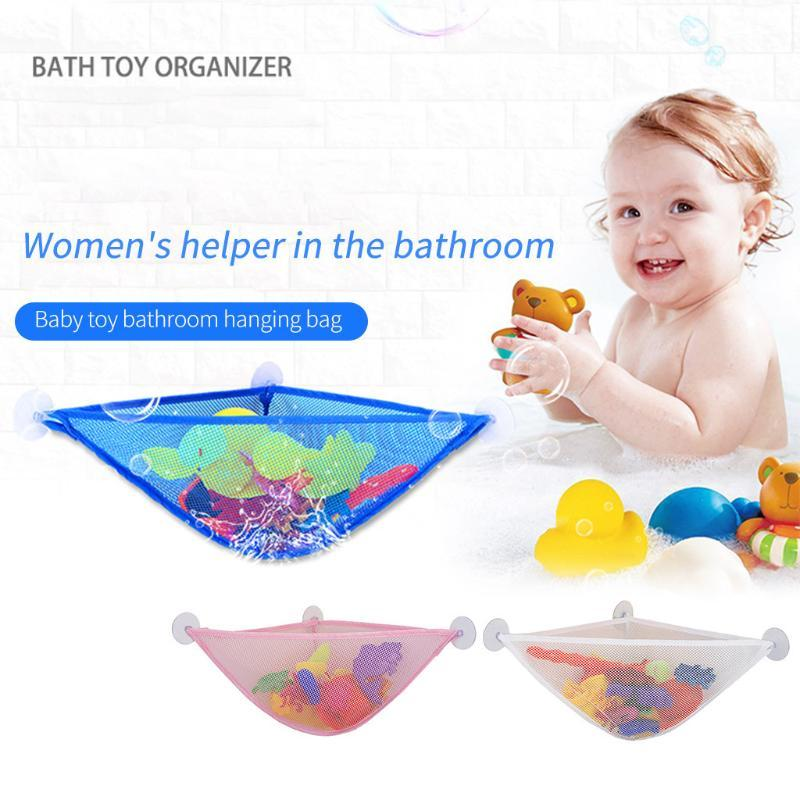 OCARDIAN 1Pc Mesh Bag Bath Home Kid's Toy Organizer Net Bag Durable 3 Strong Hooked Suction Cups Hanging Storage Mesh Toys D