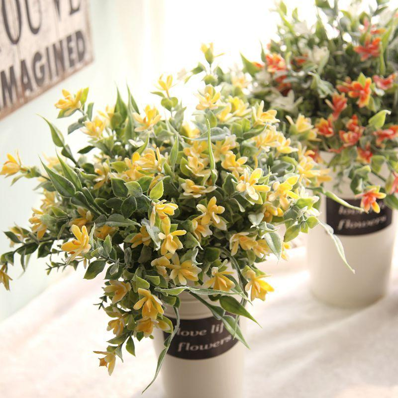 Çim 53g Yapay çiçekler bahçe düğün ev dekorasyonu sıcak satışı ile toptan 34cm sarı küçük taze Snakeweed orkide ot