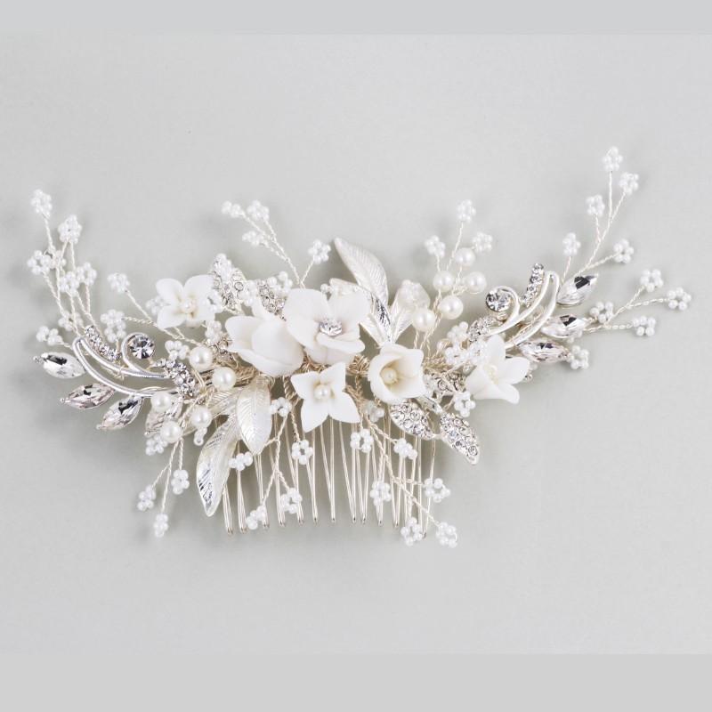 NPASON Stunning floreale copricapo nuziale d'argento dei capelli pettine piece le perle dei capelli delle donne di promenade Gioielleria di nozze