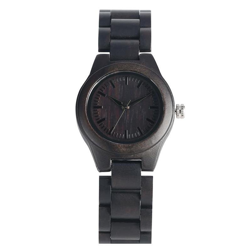 Comfortable Casual Ebony Quartz Analog Wooden Watch Natural Handmade Eco-Friendly Wood Strap Wrist Watches for Women