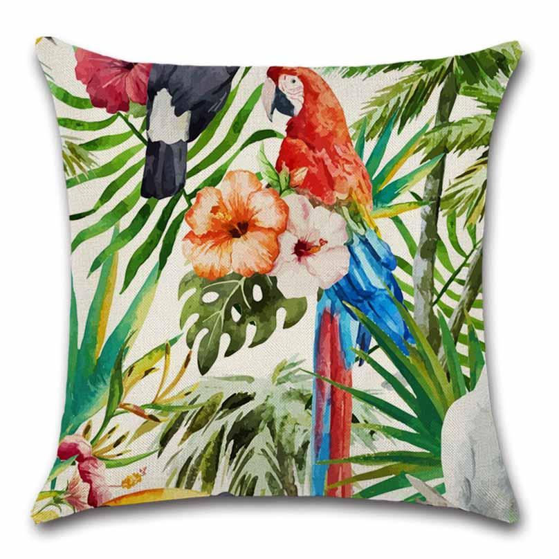 Estilo nórdico planta pássaro flor algodão capa de almofada decoração início sofá cadeira assento kids room presente amigo presente fronha