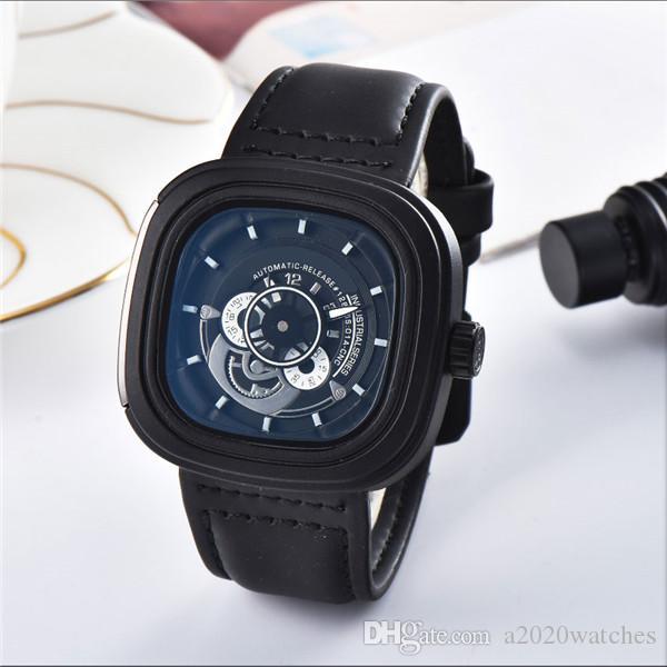 movimento Hot Sell Luxo Mens relógios automáticos de quartzo Men Square Assista Couro Watchband relógio masculino baía de safira de pulso Preto