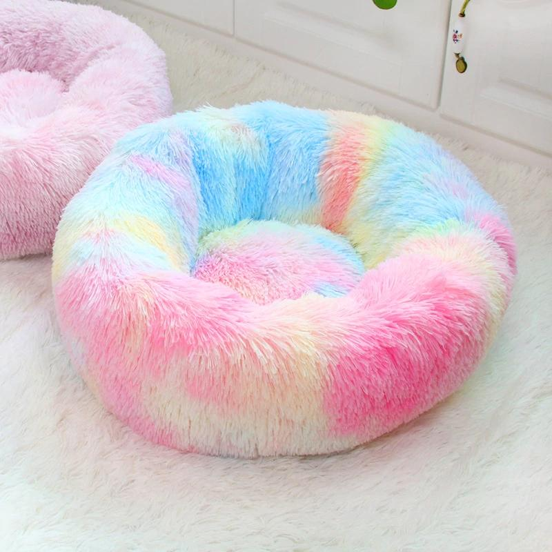 Home & Garden Round Bed Washable long plush Dog Kennel Cats House Super Soft Cotton Mat Sofa For Dog Chihuahua Animals