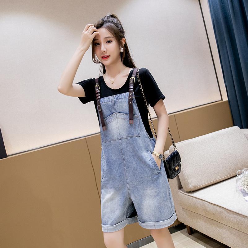 Zoki Denim Women Overalls Summer Loose Female Jean Playsuit Pocket Cotton Blue Suspenders Overalls Thin Korean Boyfriend Jean
