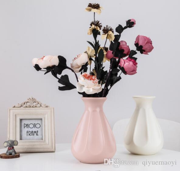 flor de plástico florero floreros flor decorativa sólida y duradera para las flores artificiales decoración de inserción para la sala de ceremonia de la boda oficina