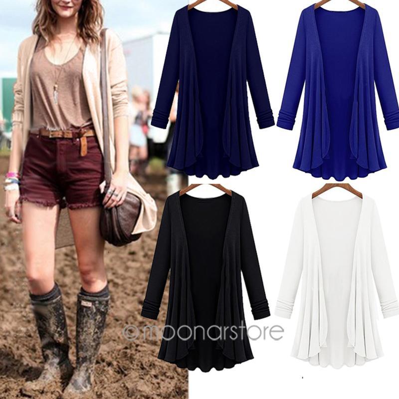 Donne Donna del maglione del progettista Maglioni Moda Primavera Cardigan casuale Poncho più le donne maglioni lunghi Vestiti Cardigan Outerwear