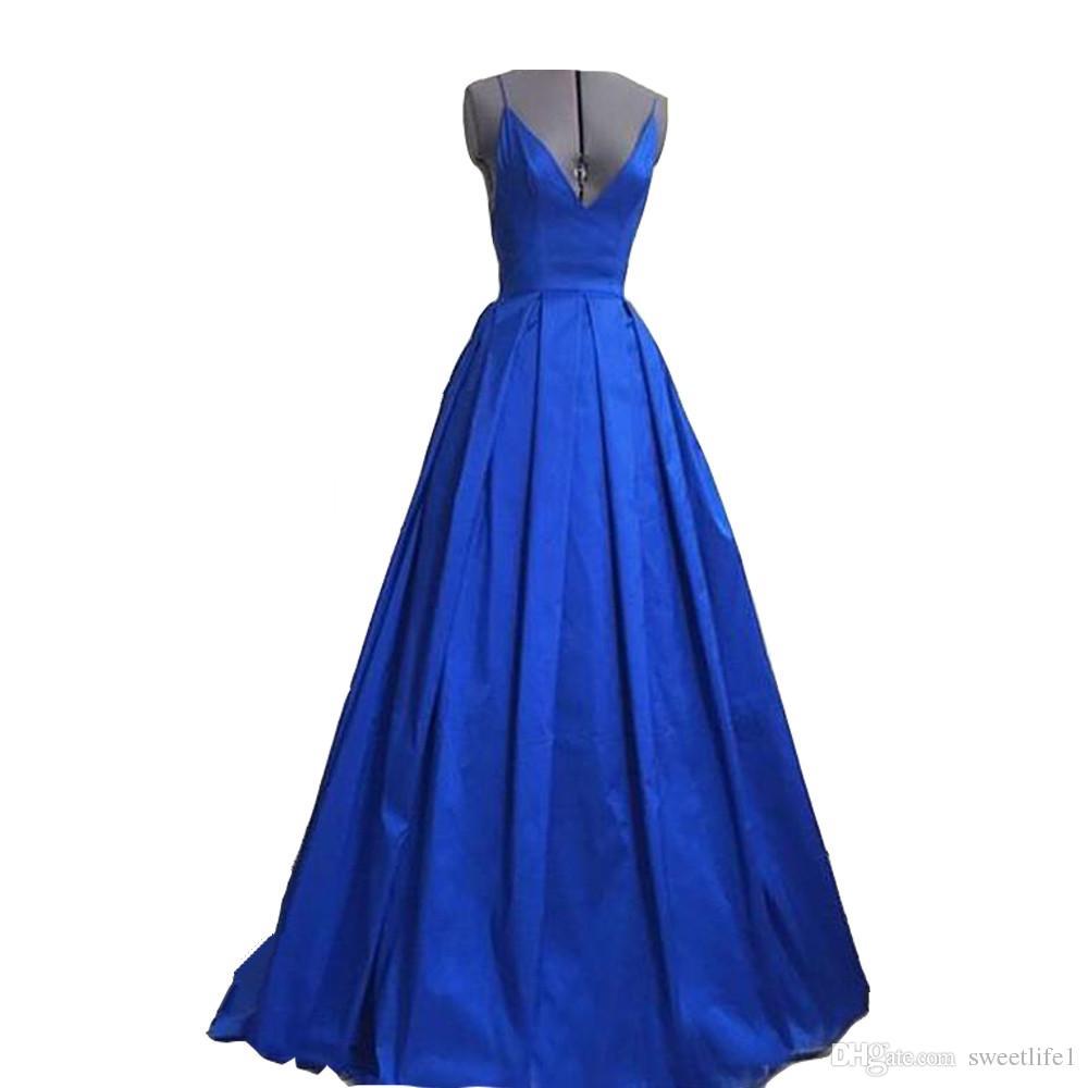 Chegada nova Azul Royal Longo Vestido de Noite Elegante Sexy Backless Mulheres Vestidos Formais Para Convidado Cotillon Festa