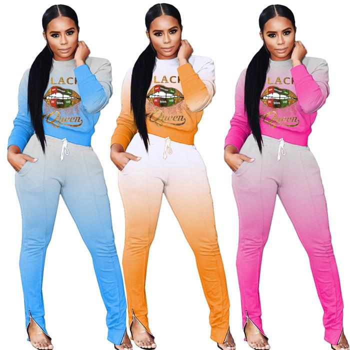 Gradient Womens 2 Piece Sets Lip Letter Pattern Hoodies Tops and Ladies Pencil Pants Casual Women Autumn Long Sleeve Tracksuits