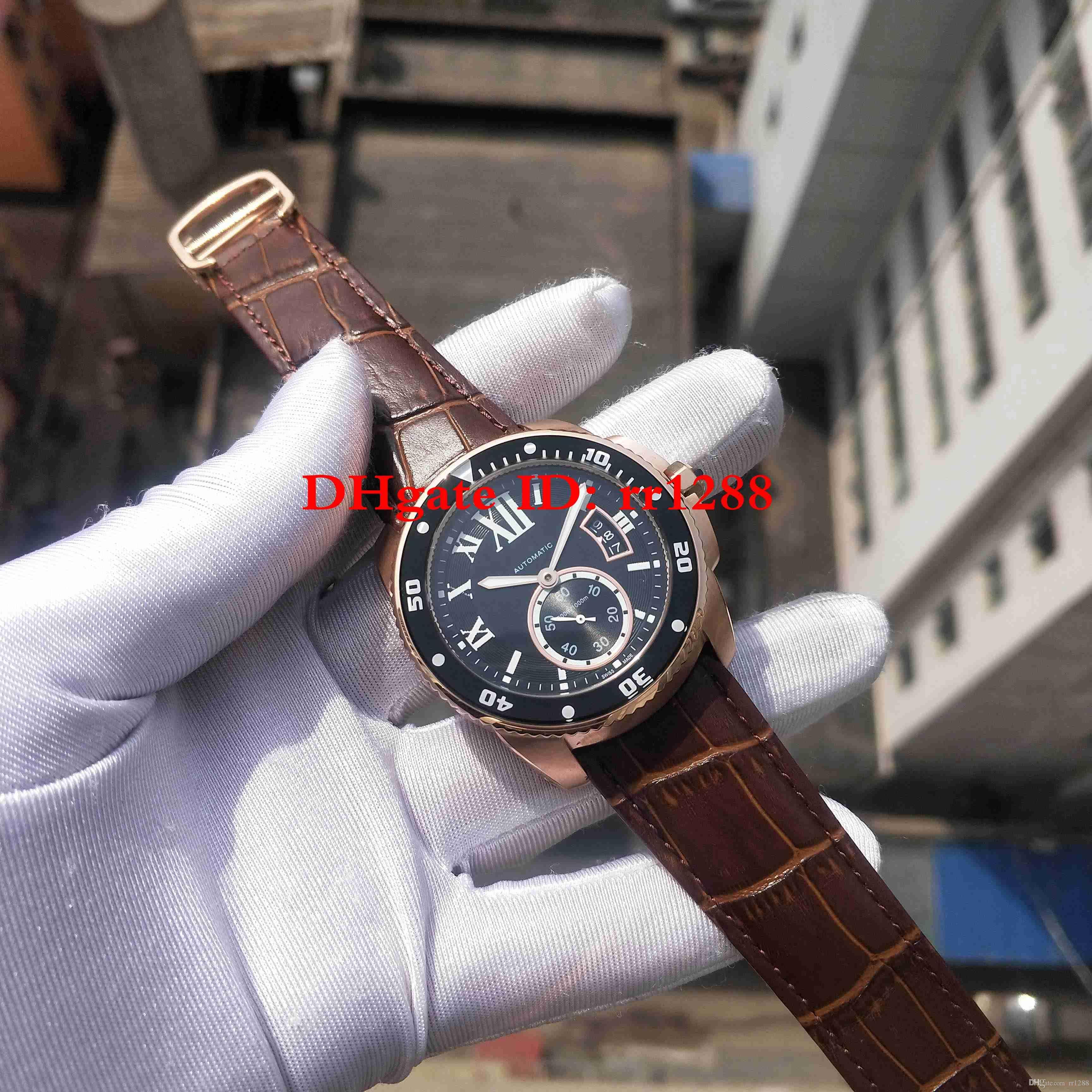 Melhor Qualidade Assista CALIBRE DE série W7100051 watch Rose Caso de Ouro mecânico Automático Mens Esporte Relógios De Pulso