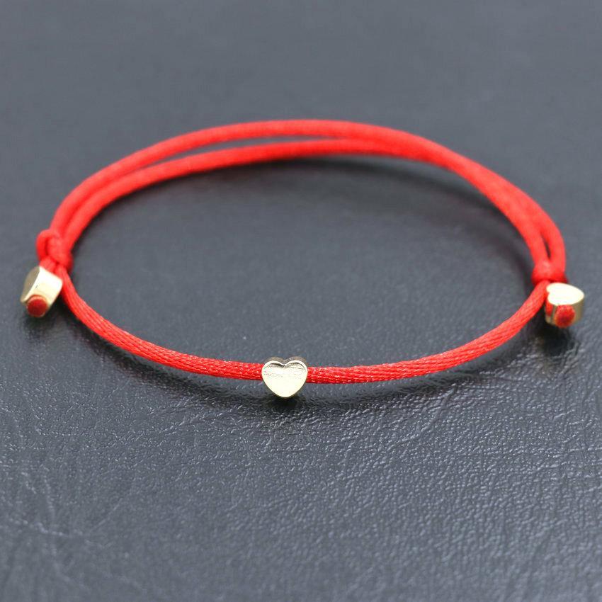 Copper Love Heart Star Crown Bracelet Women Red Rope Adjustable Bracelets
