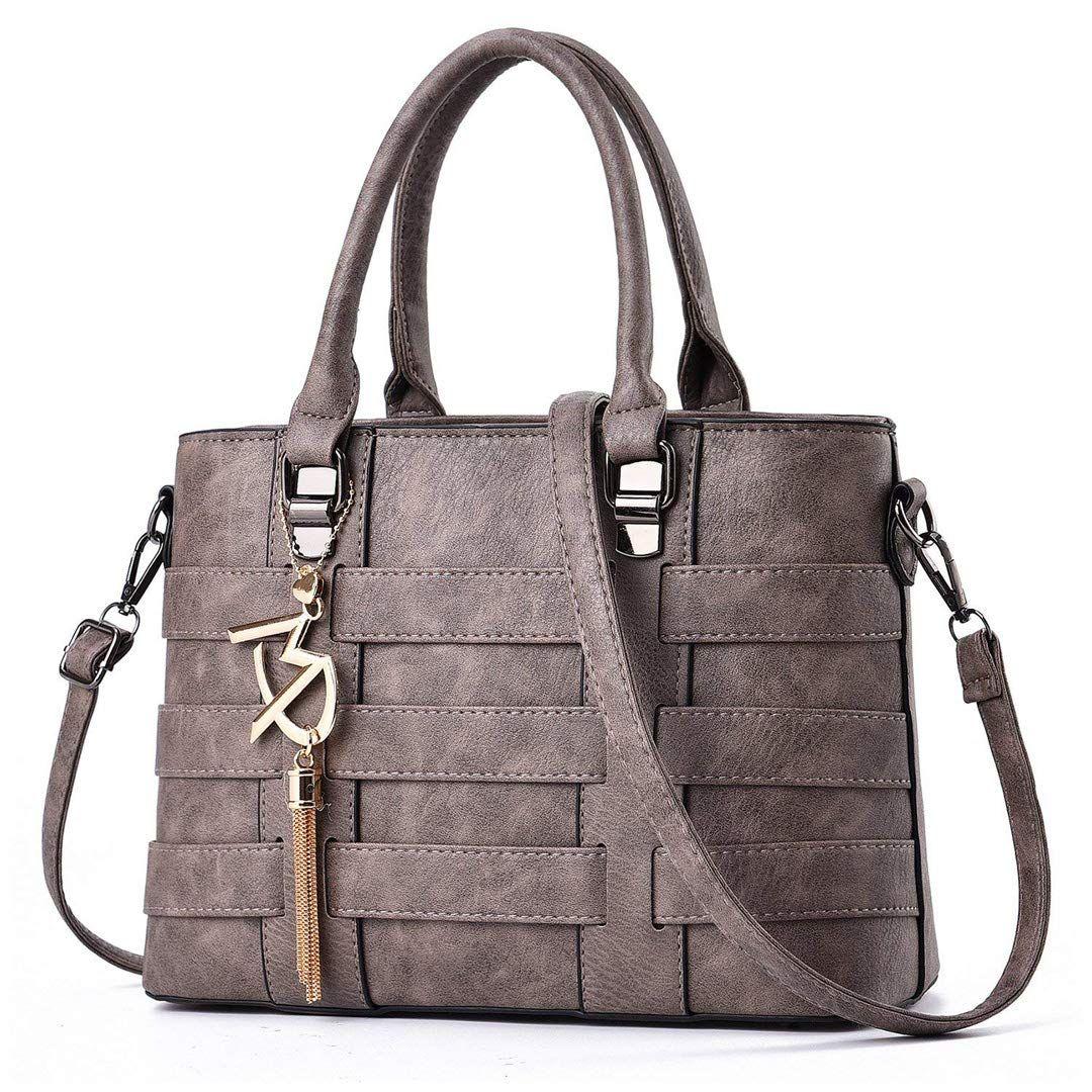 Monedero con asa superior de las mujeres de la PU del bolso de las señoras de la PU del bolso del diseñador de Ruiyee (gris)