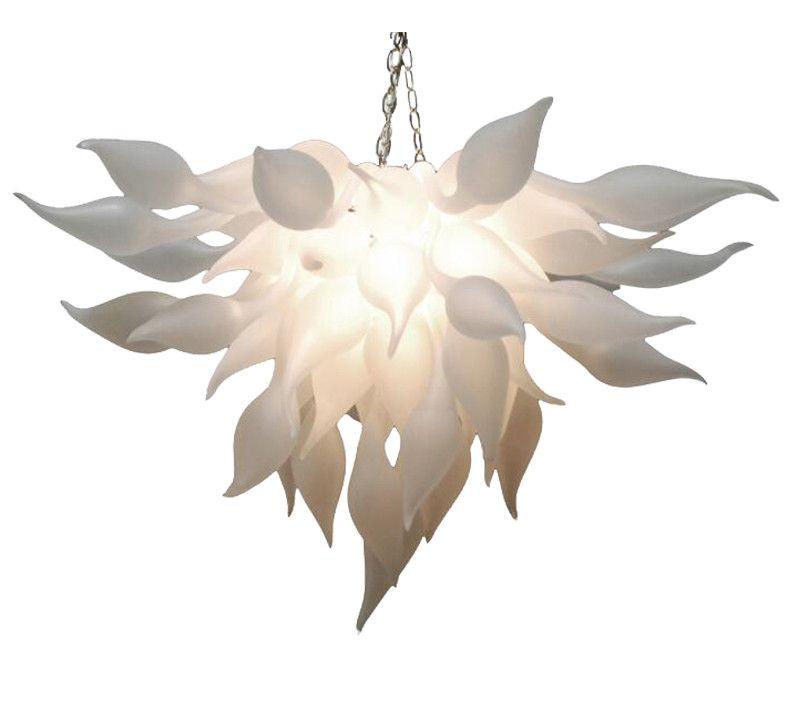 İtalyan kolye lambaları beyaz murano avizeler ışık çin tedarikçisi el üfleme cam avize sanat dekor için led ampuller