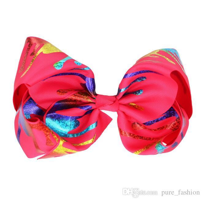 "new design 8"" Graffiti Ribbon JoJo Bow Hair Clips For Girls Princess Handmade Hair Bows Hairgrips Kids Hair Accessories 6pcs"