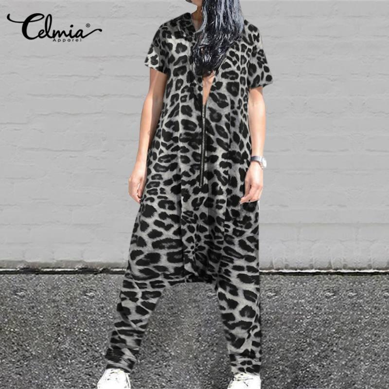 2020 Celmia Урожай Толстовки Женщины Комбинезоны Leopard Печатные Zipper Drop-промежность игровая одежда Casual Сыпучие с коротким рукавом Rompers Femme