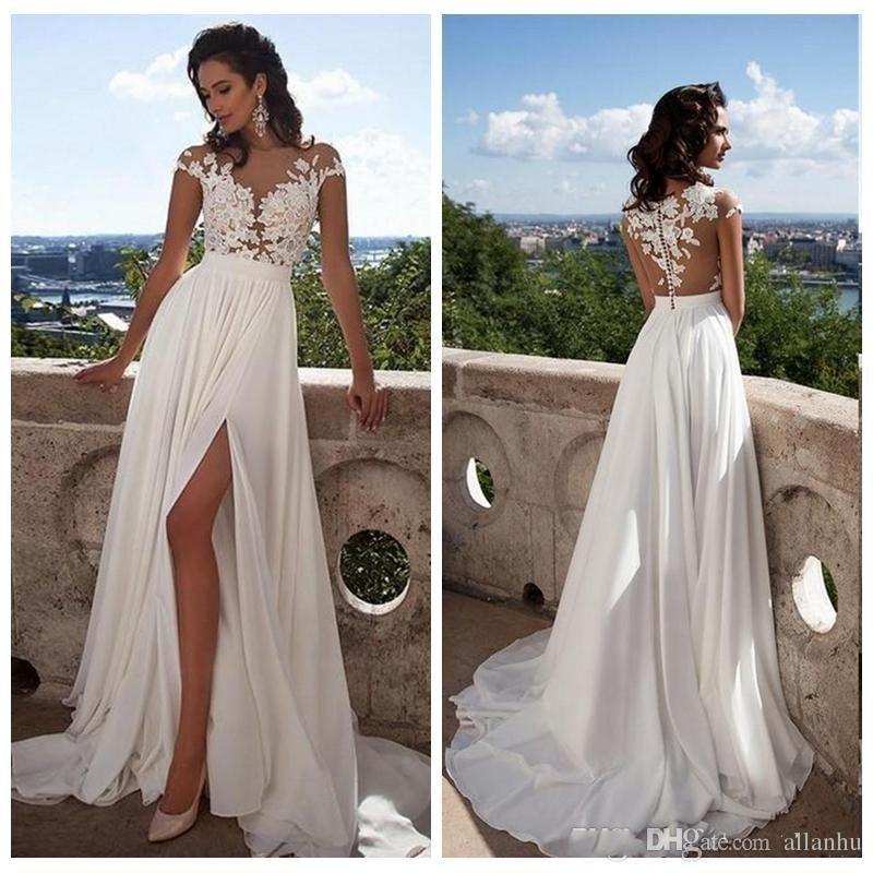 Vestidos de boda vestido de novia sin mangas atractiva bohemia playa vestidos de novia de encaje apliques sin espalda cuello del lado alto de Split gasa