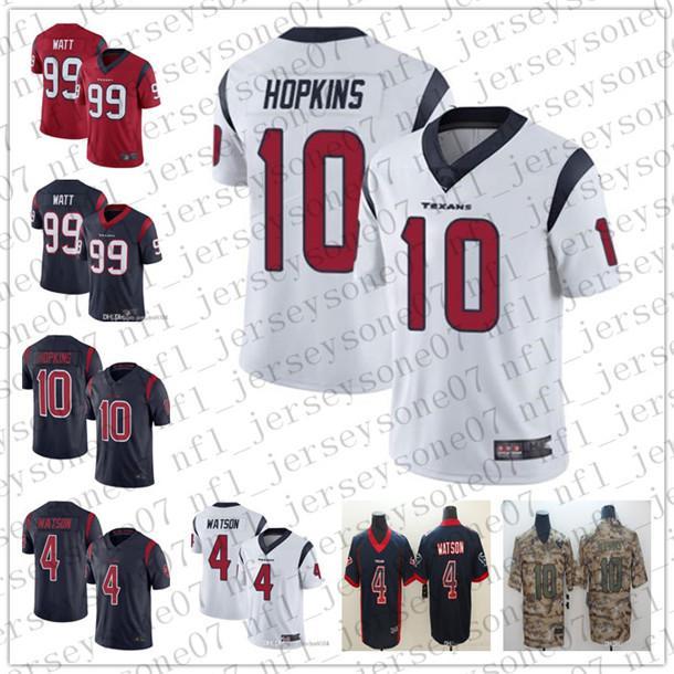 Men's Youth HoustonTexans4 Deshaun Watson 99 J.J. Watt 10 DeAndre Hopkins camo Navy Salute to Service Football Jerseys