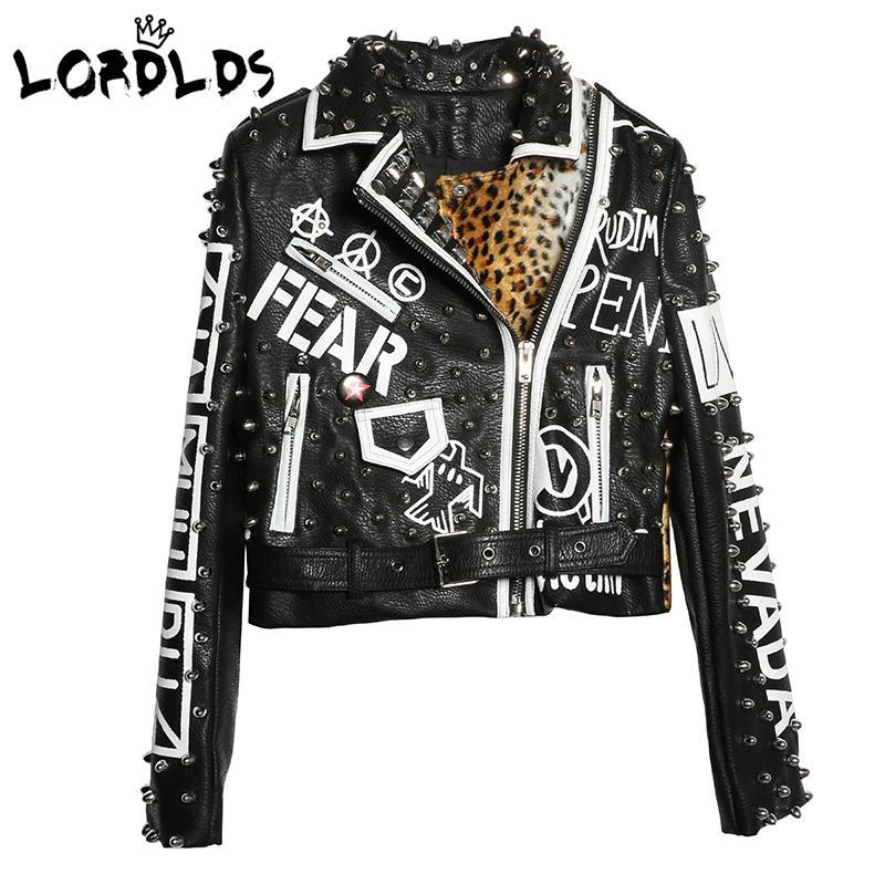 Lordxx Giacca di pelle nera leopardata Donna 2018 Autunno Inverno Moda Colletto rovesciato Punk Rock Giacche con borchie Cappotti da donna Y190826