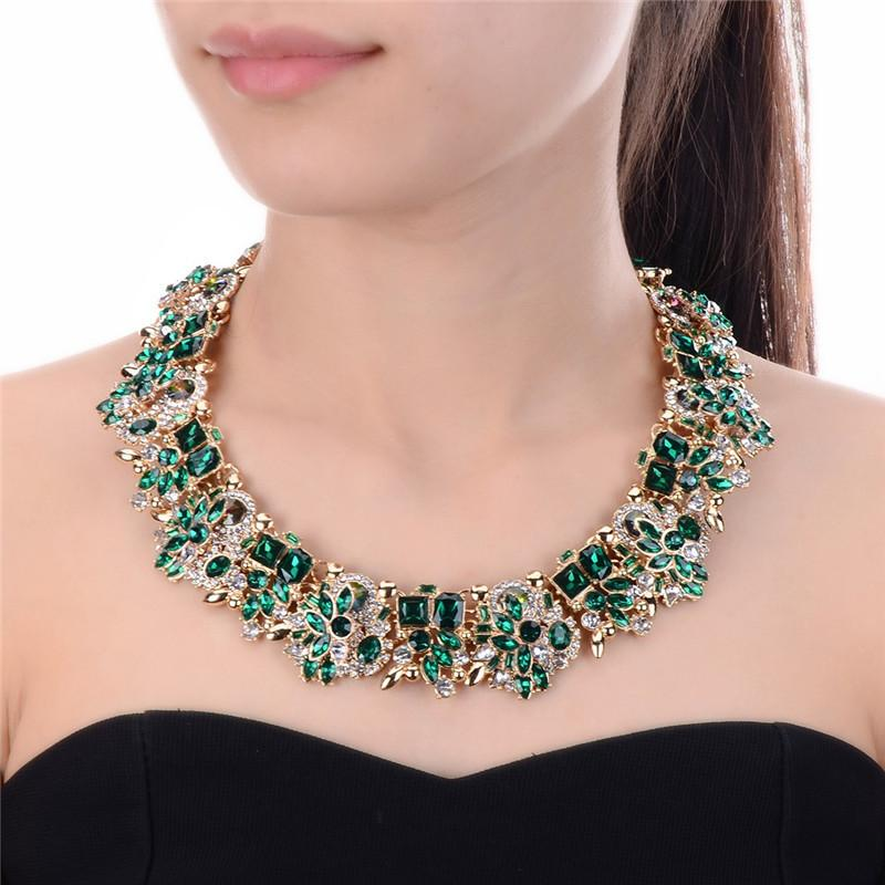 Fashion Charm Colorful Rhinestone Crystal Peacock Choker Statement Bib Necklace
