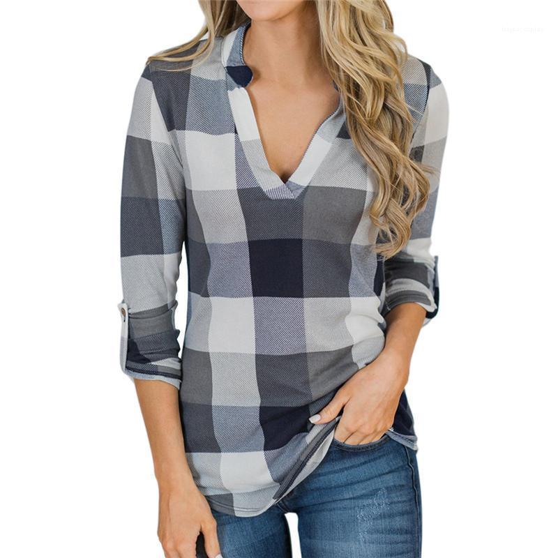 Cuello en V de diseño camisas para mujer Tops Manga larga Ropa Mujeres tela escocesa Diseñador blusas de la manera del otoño