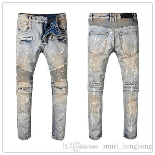 Прибытие W42 W40 талией Классический Роскошная мужские джинсы патч высокого класса Оборотная вода Простые Щедрые Повседневный Top Джинсовые штаны Больше Стиль