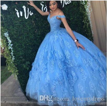 Bahama Blue Floral Lace Sweet 16 Dresses Ball Gowns Prom Off Shoulder Lace Beaded Hand Made Flowers Quinceanera Dress Sweet 15 Girls