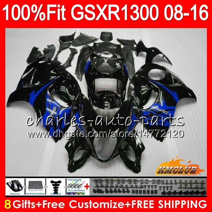 Injektion för Suzuki Blue Black GSXR1300 Hayabusa 08 09 10 2008 2009 2010 25HC.70 GSXR 1300 GSXR-1300 11 12 13 2011 2012 2013 OEM FAIRING