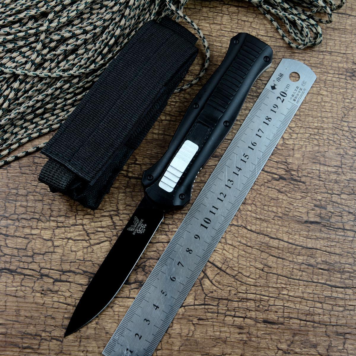 BM الكافر 3300 سكين أسود شفرة سبائك الألومنيوم التعامل مع نايلون الحقيبة الصيد في الهواء الطلق أداة التخييم بقاء