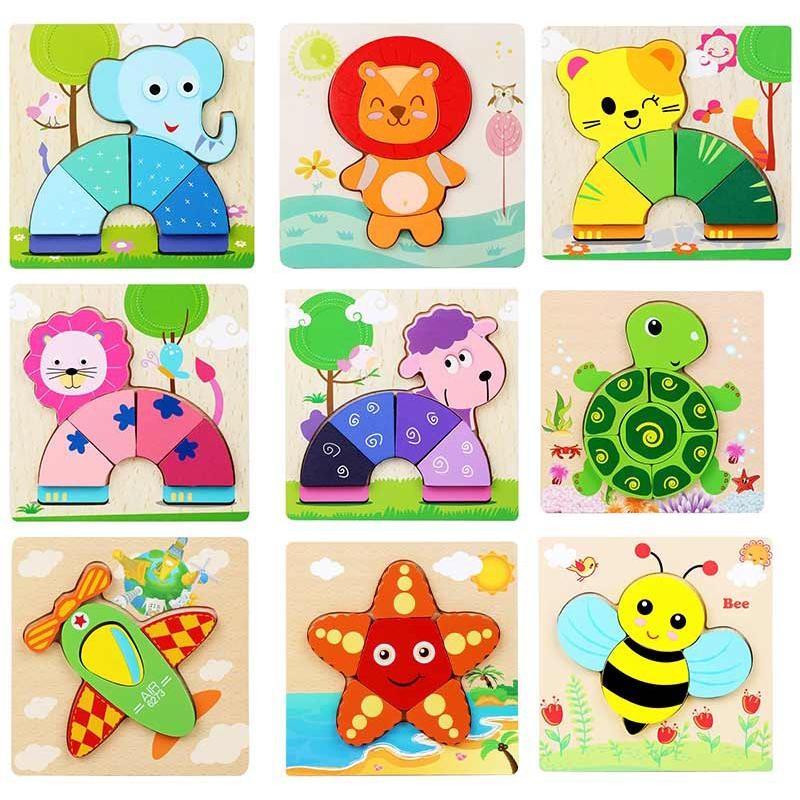 Wooden Blocks Baby Toys Cartoon Intellectual Building Blocks and Training Toy for Early Education Children Wood Parent-child Toys 15*15