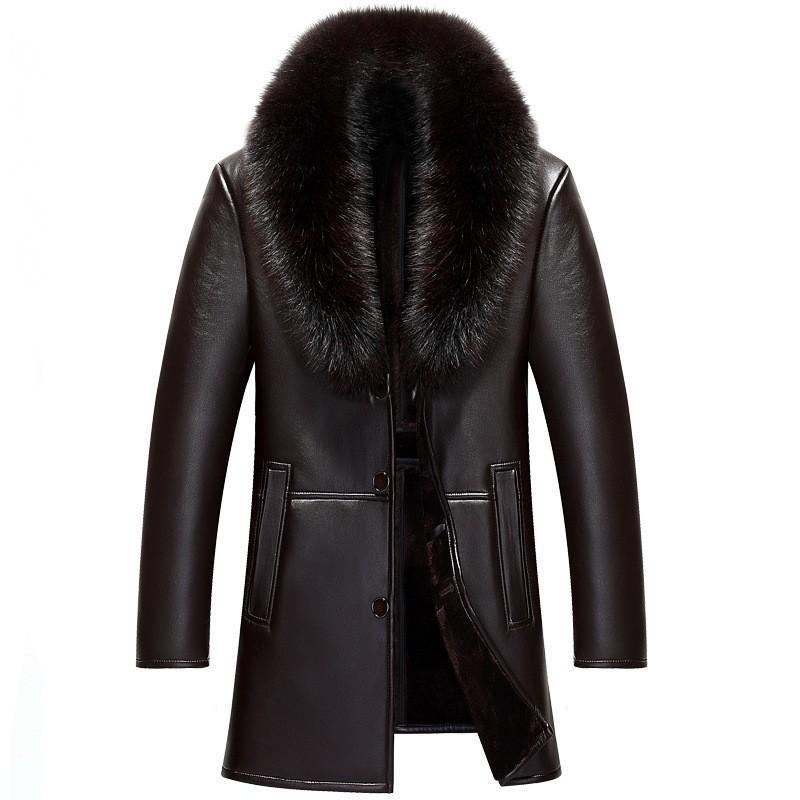 Inverno grande gola de pele destacável Comprimento Médio Mens Faux Leather Jackets Moda Slim Fit Velvet Thicken Coats Plus Size M-4XL