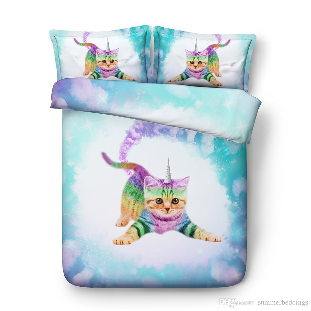 Unicorn Cat Galaxy Duvet Cover Set Queen Star Twin Bedding Twin