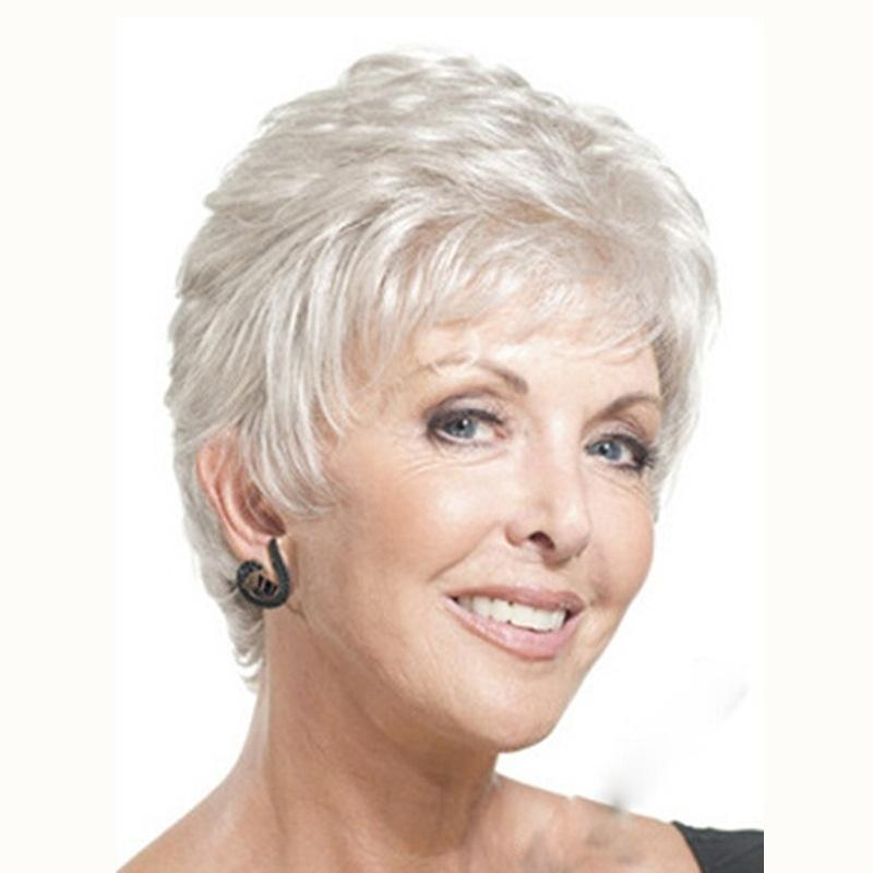 European and American fashion wig white short mother wig