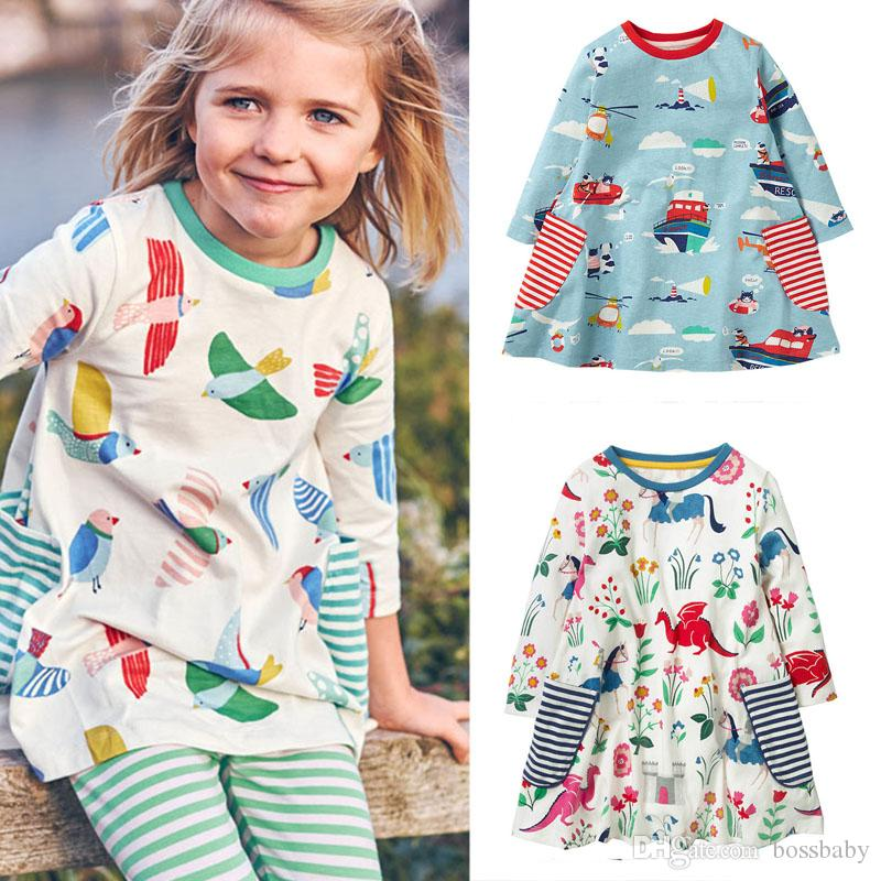 Baby Girls Dress Animal Appliqued Striped Stars Kids Long Sleeve Dress Baby Girl Casual Clothes Cotton Autumn Winter Kids Clothes 2-7T 07