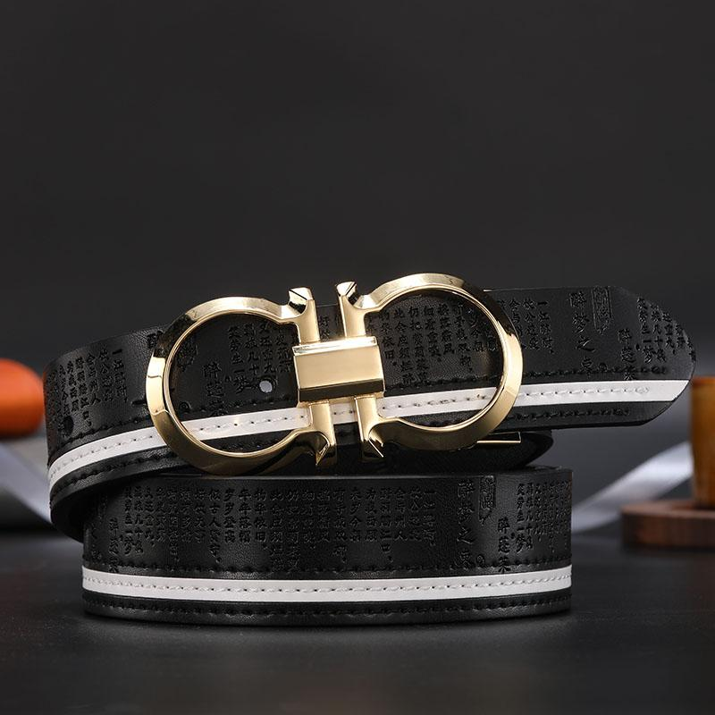 2020 designer women's wear belt fashion luxury gold buckle smooth buckle belt black band width Europe and the United States hot sales