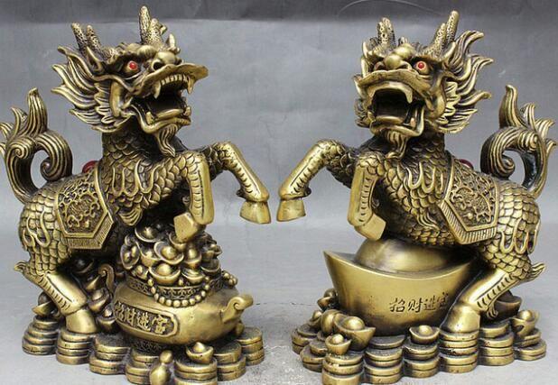 "NEW ++ +9"" Folk China FengShui Brass Wealth Treasure Bowl Dragon Kylin QiLin Statue Pair"