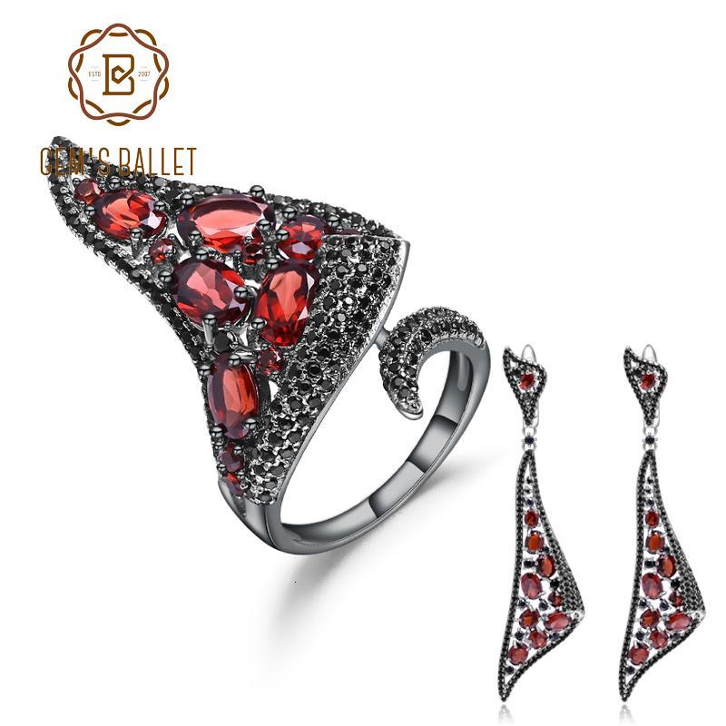 GEM balletto argento 925 punk gotico insieme dei monili per le donne Naturale Rosso granato orecchini di goccia Ring Set Fine Jewelry CJ191205