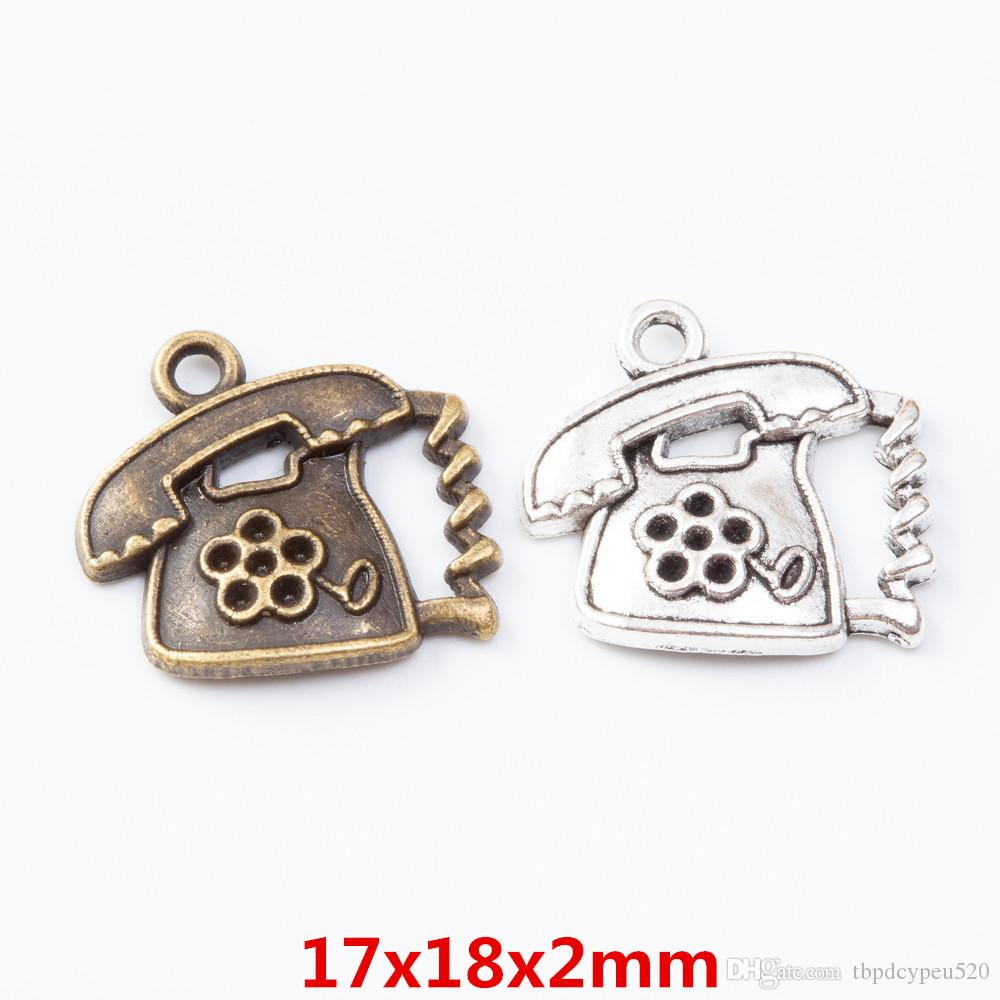 wholesale vintage metal Zinc alloy charms phone pendant for diy jewelry findings 7066