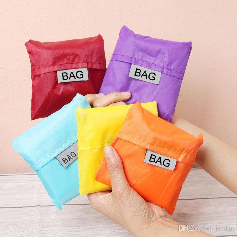 Eco Friendly Storage Handbag Foldable Usable Shopping Bags Reusable portable Grocery Nylon Large Bag Pure Color