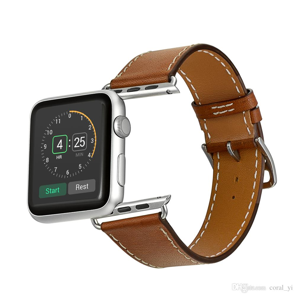 Fashion leather strap for iwatch series 1/2/3/4 buckle breathable Loop Belt bond for apple watch 38MM 40MM 42MM 44MM