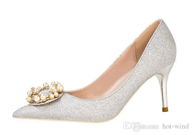 Sparkly Высоких каблуков Серебряного кристалл свадьба обувь Toe Остроконечного стилет каблук Женская обувь великолепный горный хрусталь Burgundy / черная