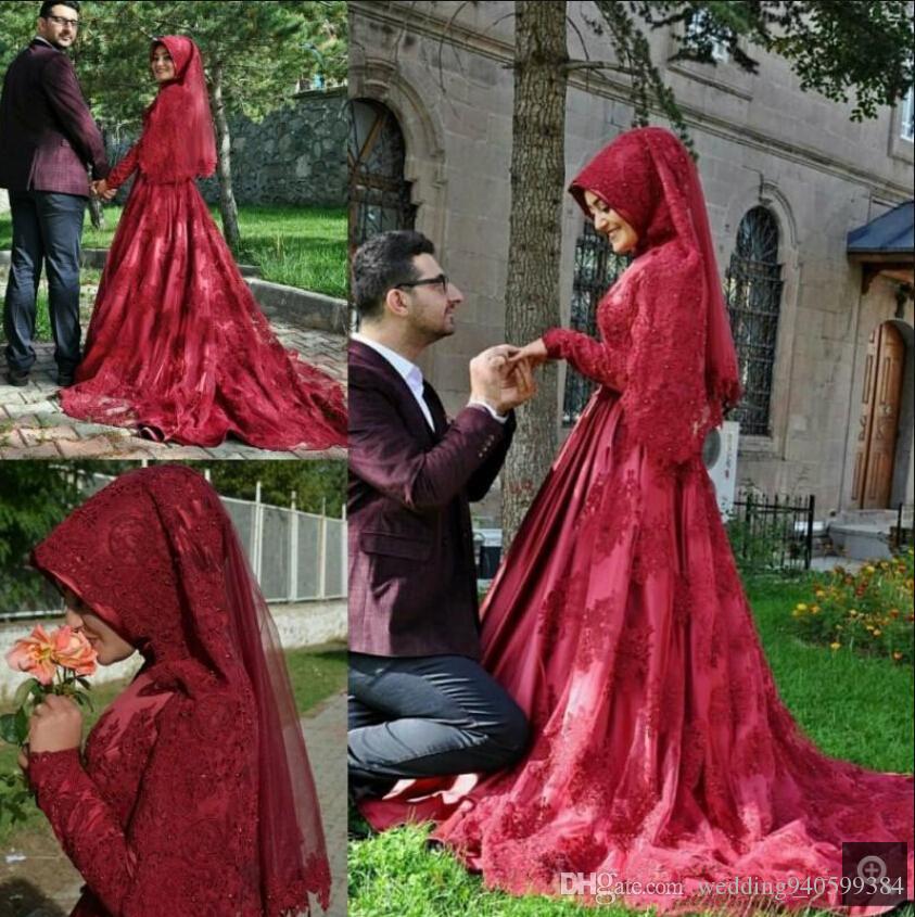 2020 Dubai arabo Vintage Lace vino Prom Dresses Muslim collo alto con maniche lunghe perle modesto ballo abiti dolce vestito 16 parti
